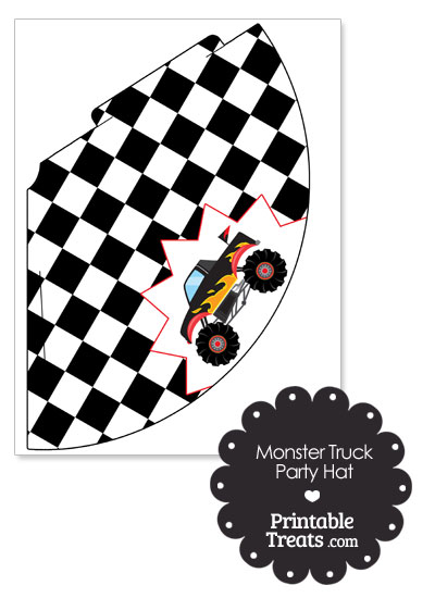 Black Monster Truck Party Hat by PrintableTreats.com