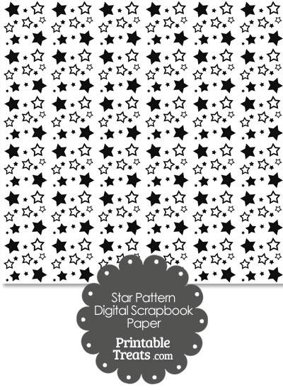 Black Star Pattern Digital Scrapbook Paper from PrintableTreats.com