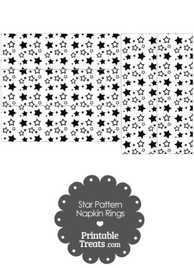 Black Star Pattern Napkin Rings from PrintableTreats.com