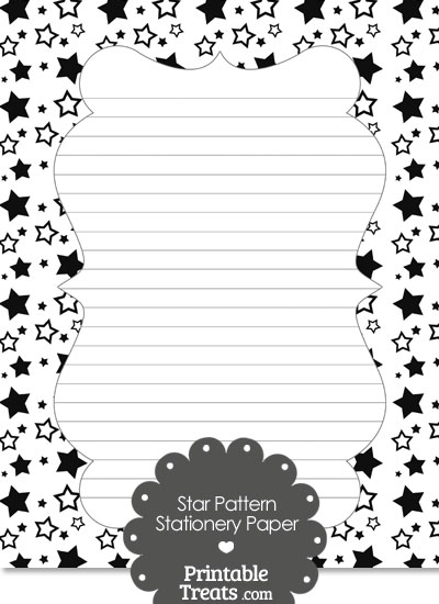 Black Star Pattern Stationery Paper from PrintableTreats.com