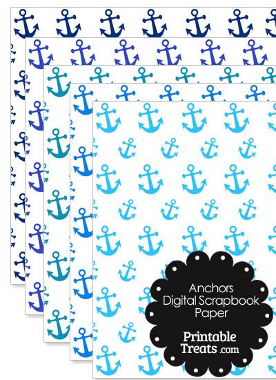 Blue Anchor Digital Scrapbook Paper from PrintableTreats.com