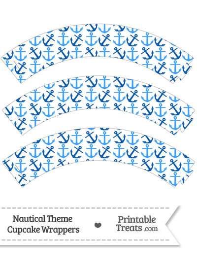 Blue Anchors Cupcake Wrappers from PrintableTreats.com