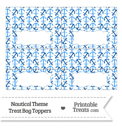 Blue Anchors Treat Bag Toppers from PrintableTreats.com