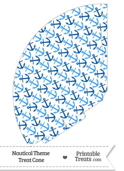 Blue Anchors Treat Cone from PrintableTreats.com