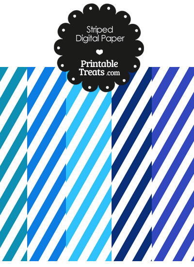 Blue and White Diagonal Striped Digital Scrapbook Paper from PrintableTreats.com
