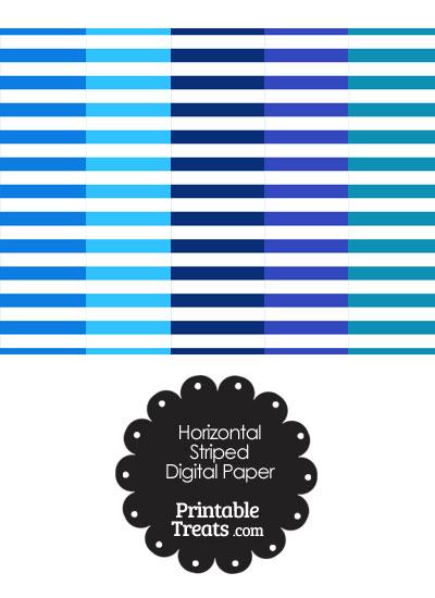 Blue and White Horizontal Striped Digital Scrapbook Paper from PrintableTreats.com