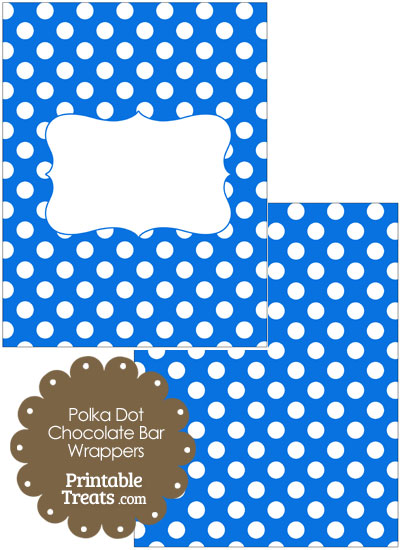 Blue and White Polka Dot Chocolate Bar Wrappers from PrintableTreats.com