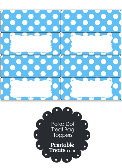 Blue and White Polka Dot Treat Bag Toppers from PrintableTreats.com