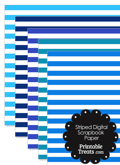 Blue and White Striped Digital Scrapbook Paper from PrintableTreats.com