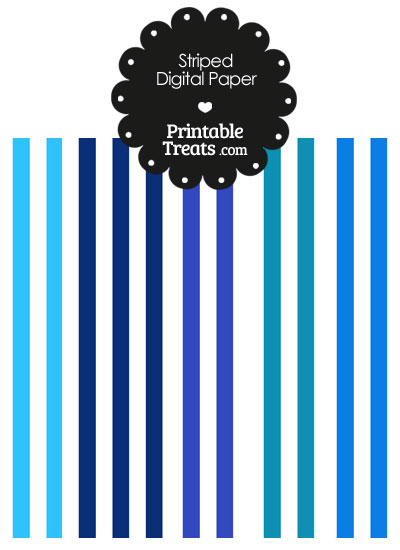 Blue and White Vertical Striped Digital Scrapbook Paper from PrintableTreats.com