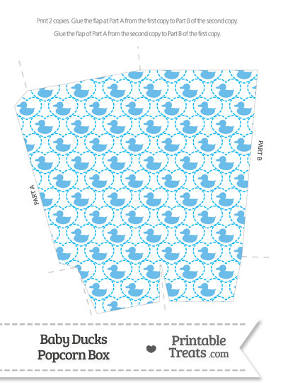 Blue Baby Ducks Popcorn Box from PrintableTreats.com
