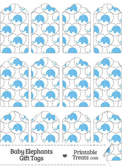 Blue Baby Elephants Gift Tags from PrintableTreats.com