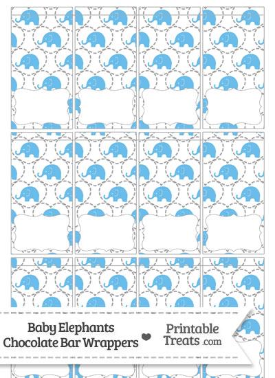 Blue Baby Elephants Mini Chocolate Bar Wrappers from PrintableTreats.com