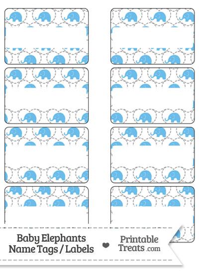 Blue Baby Elephants Name Tags from PrintableTreats.com