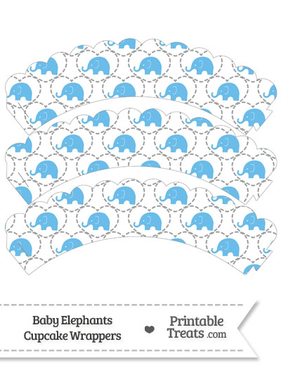 Blue Baby Elephants Scalloped Cupcake Wrappers from PrintableTreats.com