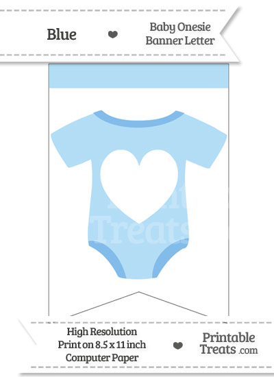 Blue Baby Onesie Bunting Banner Heart End from PrintableTreats.com