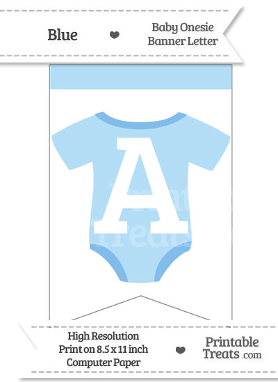 Blue Baby Onesie Bunting Banner Letter A from PrintableTreats.com