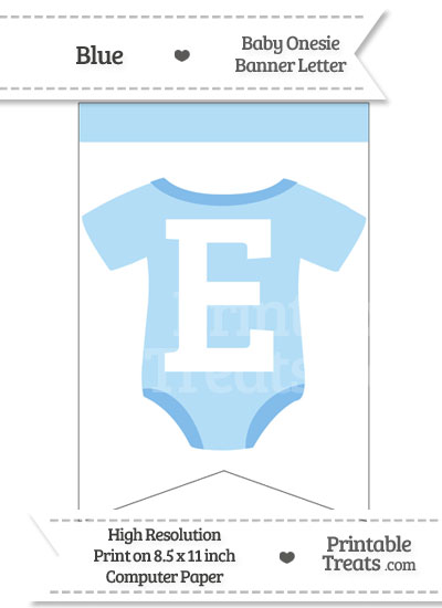 Blue Baby Onesie Bunting Banner Letter E from PrintableTreats.com