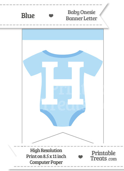 Blue Baby Onesie Bunting Banner Letter H from PrintableTreats.com