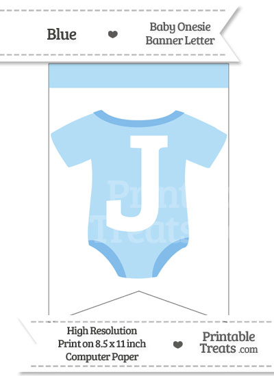 Blue Baby Onesie Bunting Banner Letter J from PrintableTreats.com