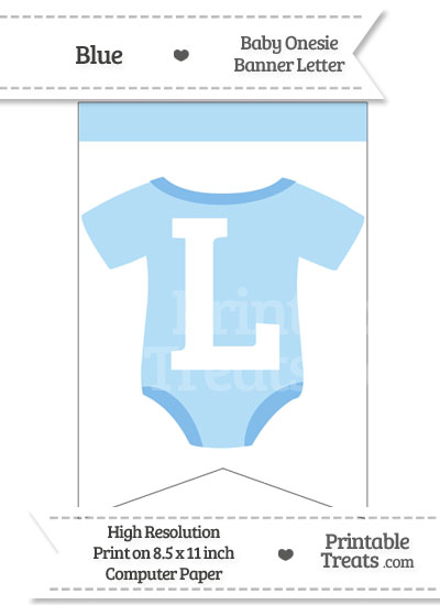 Blue Baby Onesie Bunting Banner Letter L from PrintableTreats.com