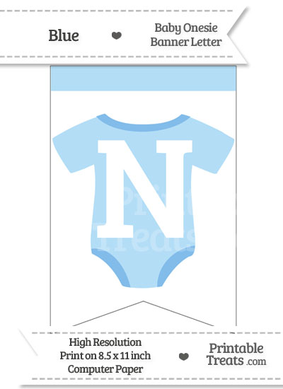 Blue Baby Onesie Bunting Banner Letter N from PrintableTreats.com