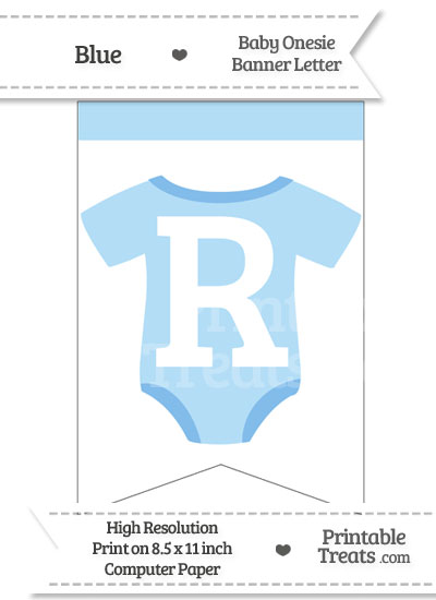 Blue Baby Onesie Bunting Banner Letter R from PrintableTreats.com