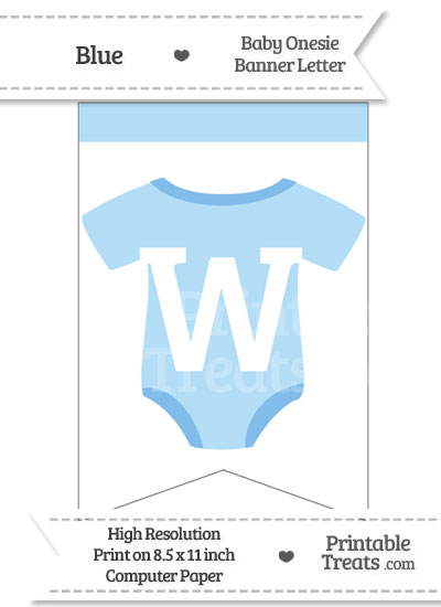 Blue Baby Onesie Bunting Banner Letter W from PrintableTreats.com