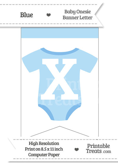Blue Baby Onesie Bunting Banner Letter X from PrintableTreats.com
