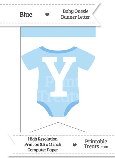 Blue Baby Onesie Bunting Banner Letter Y from PrintableTreats.com
