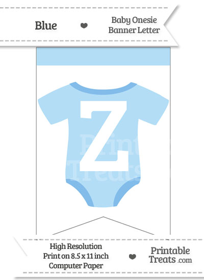 Blue Baby Onesie Bunting Banner Letter Z from PrintableTreats.com