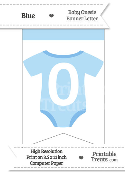 Blue Baby Onesie Bunting Banner Number 0 from PrintableTreats.com
