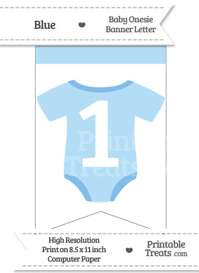 Blue Baby Onesie Bunting Banner Number 1 from PrintableTreats.com