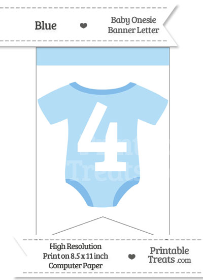 Blue Baby Onesie Bunting Banner Number 4 from PrintableTreats.com