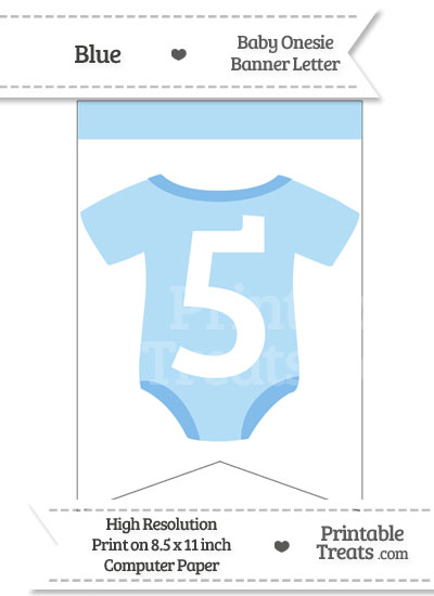 Blue Baby Onesie Bunting Banner Number 5 from PrintableTreats.com