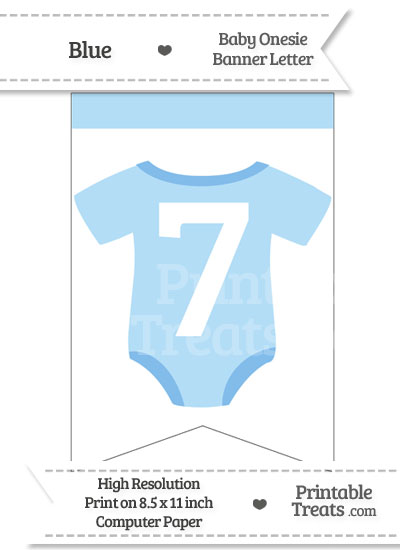 Blue Baby Onesie Bunting Banner Number 7 from PrintableTreats.com