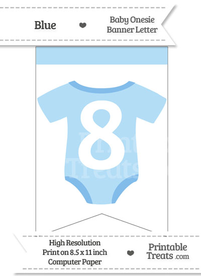 Blue Baby Onesie Bunting Banner Number 8 from PrintableTreats.com