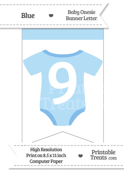 Blue Baby Onesie Bunting Banner Number 9 from PrintableTreats.com