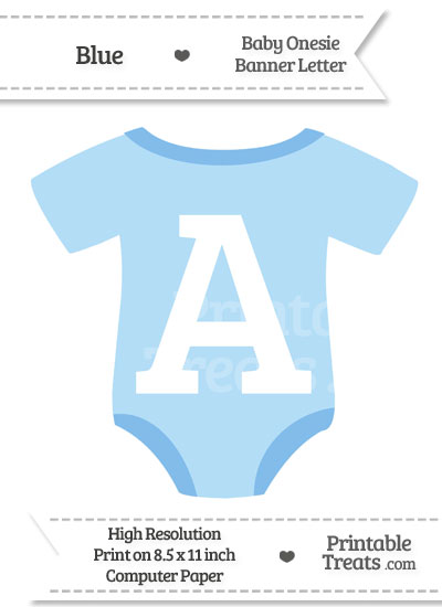 Blue Baby Onesie Shaped Banner Letter A from PrintableTreats.com