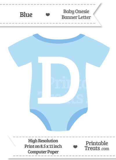 Blue Baby Onesie Shaped Banner Letter D from PrintableTreats.com