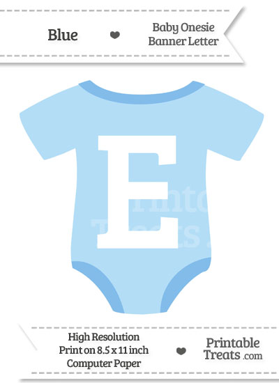 Blue Baby Onesie Shaped Banner Letter E from PrintableTreats.com