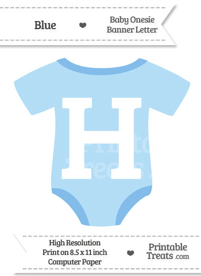 Blue Baby Onesie Shaped Banner Letter H from PrintableTreats.com