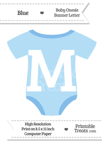Blue Baby Onesie Shaped Banner Letter M from PrintableTreats.com