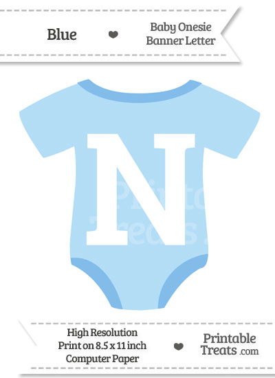 Blue Baby Onesie Shaped Banner Letter N from PrintableTreats.com