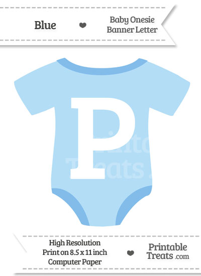 Blue Baby Onesie Shaped Banner Letter P from PrintableTreats.com