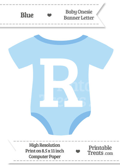 Blue Baby Onesie Shaped Banner Letter R from PrintableTreats.com