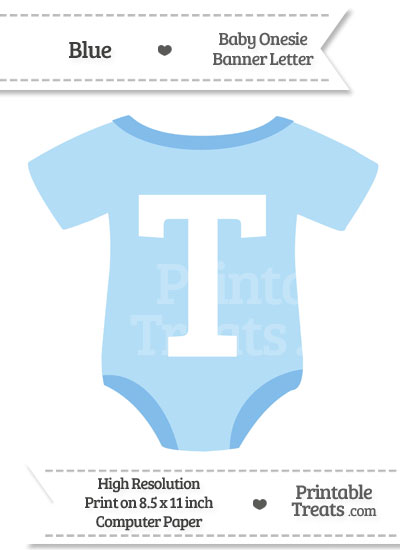 Blue Baby Onesie Shaped Banner Letter T from PrintableTreats.com