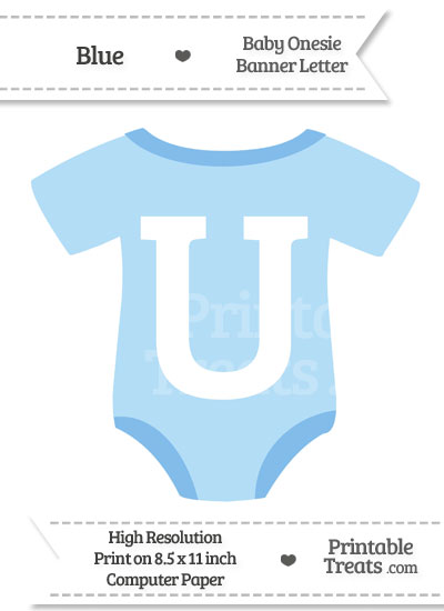 Blue Baby Onesie Shaped Banner Letter U from PrintableTreats.com