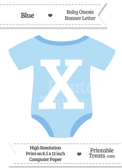 Blue Baby Onesie Shaped Banner Letter X from PrintableTreats.com