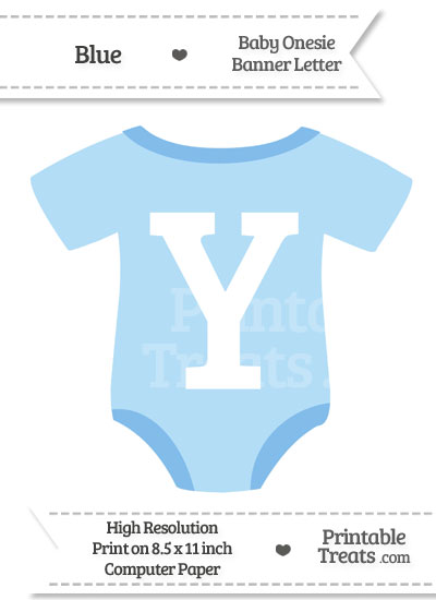 Blue Baby Onesie Shaped Banner Letter Y from PrintableTreats.com